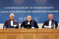 Judges of the European Court of Human Rights arrive for the start of an hearing on the case of former Ukrainian Prime Minister Yulia Tymoshenko in Strasbourg