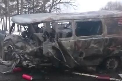 Девять человек погибли встрашном ДТП. Машины всмятку, УАЗ сгорел дотла