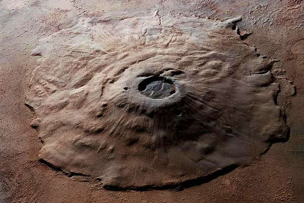 This is an orbital view of Olympus Mons on Mars