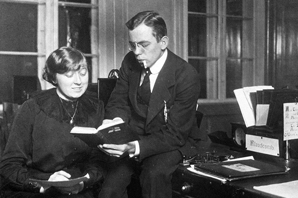 Two young telegraphers at the Main Telegraph Station in Copenhagen, Miss Galschiøtt and Mr. Henriksen, aiding a secret military intelligence unit called Kystcentralen, circa 1915