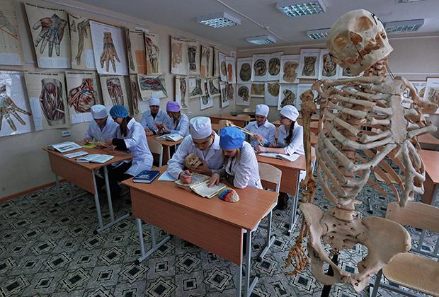 Студенты на занятии кафедры анатомии