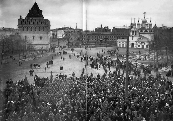 Начало Октябрьской революции в Нижнем Новгороде на Благовещенской площади
