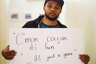 На фото (слова насильника жертве): «Давай, кузен, это весело. Это просто игра»