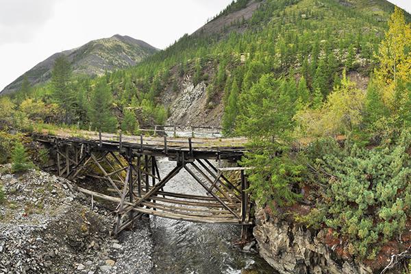 Якутия, старый мост на трассе «Колыма», Якутск-Магадан