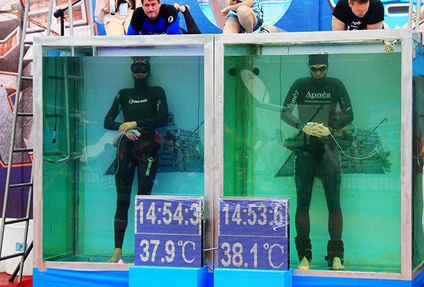 Фридайверы из Германии и Бразилии борются за новый мировой рекорд