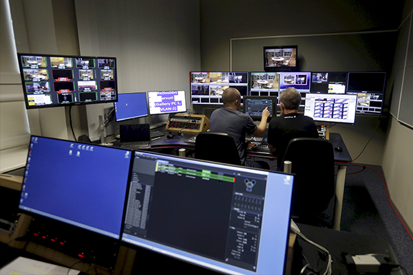Engineers work in the control room of the new Russian language TV channel ETV+ in Tallinn, Estonia, September 24, 2015. According to Estonian public broadcaster, the channel was established to improve the quality of the Russian-language information field in Estonia