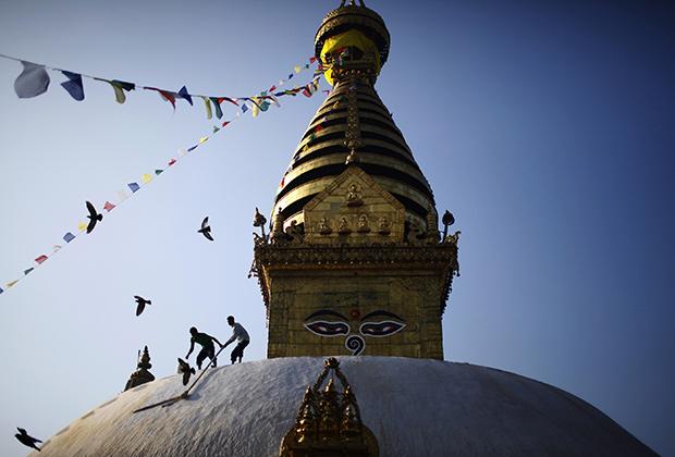 От храма Сваямбунатх открывается хороший вид на долину Катманду