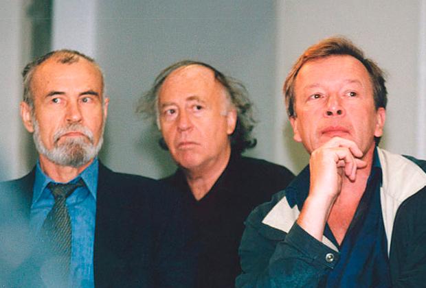 Владимир Маканин, французский издатель и критик Мишель Парфенов (Michel Parfenov) и Виктор Ерофеев, октябрь 2002