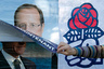 A Socialist party activist glues a poster for Francois Hollande, Socialist party candidate in the French 2012 presidential election, over a poster of Nicolas Sarkozy, France's President and UMP candidate, along a street in Reze near Nantes, April 12, 2012