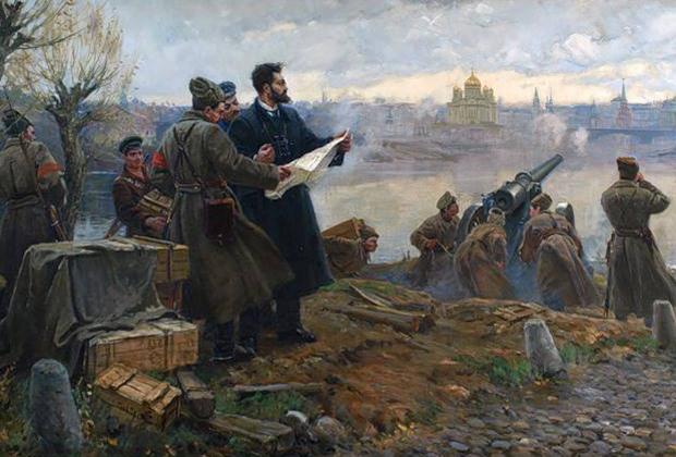 Виктор Дмитриевский и Николай Евстигнеев «П.К. Штернберг руководит обстрелом Кремля в 1917 году»