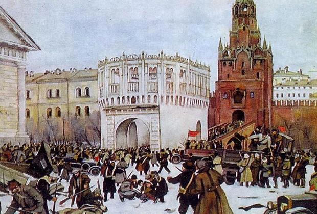 Константин Юон «Вступление в Кремль через Троицкие ворота 2 (15) ноября 1917 года»