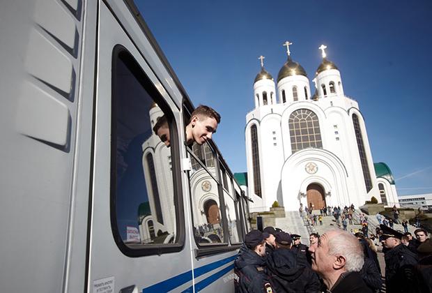 Задержанный участник акции против коррупции в Калининграде
