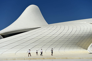 BAKU, AZERBAIJAN - AUGUST 06: A general view of the Heydar Aliyev Centre in Baku on August 6, 2014 in Baku, Azerbaijan.