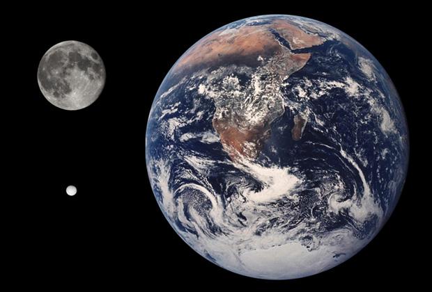 Сравнение размеров Земли, Луны и Энцелада