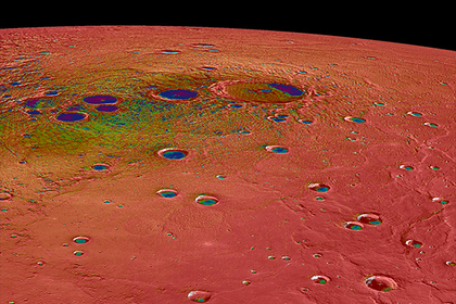 Северная полярная область Меркурия характеризуется резкими перепадами температур (50-400 кельвинов) и наличием в кратерах водяного льда