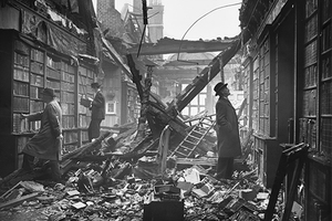 The library at Holland House in Kensington, London, extensively damaged by a Molotov 'Breadbasket' fire bomb