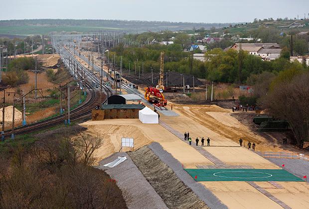 Строительство железной дороги в обход Украины на участке в Воронежской области