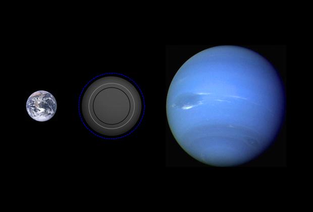 Сравнение размеров Земли, Полтергейста и Нептуна