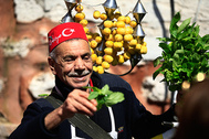 A vendor offers lemonade for sale, at an open market in the historic Sultanahmet district of Istanbul,Friday, March 24, 2017.