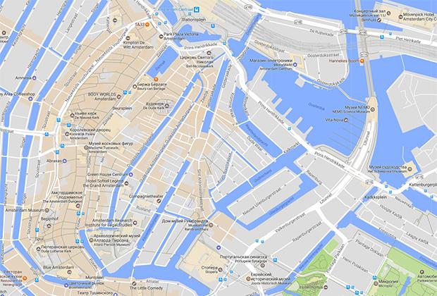 Оранжевым цветом в Google Maps обозначены самые популярные места у пешеходов (Areas of Interest)