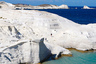 Oct. 2, 2011 - Milos Island, Cyclades, Greece - Sarakiniko beach. Milos island in Greece, with its unique horse shoe-shape, set in the blue waters of the Aegean sea in Cyclades. The island of Milos is almost entirely a volcanic island. The colours and morphology of the geological phenomena.....the coastlines, the gulfs, the cliffs, the gorges, the hills are unique and it would be difficult to tire of gazing at them. (Credit Image: © ZUMAPRESS.com/Global Look Press) Photographer: © Aristidis Vafeiadakis
