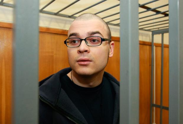 Подсудимый Марцинкевич во время оглашения приговора по делу о разжигании межнациональной розни. Хамовнический суд приговорил Максима Марцинкевича к 3,5 годам заключения.
