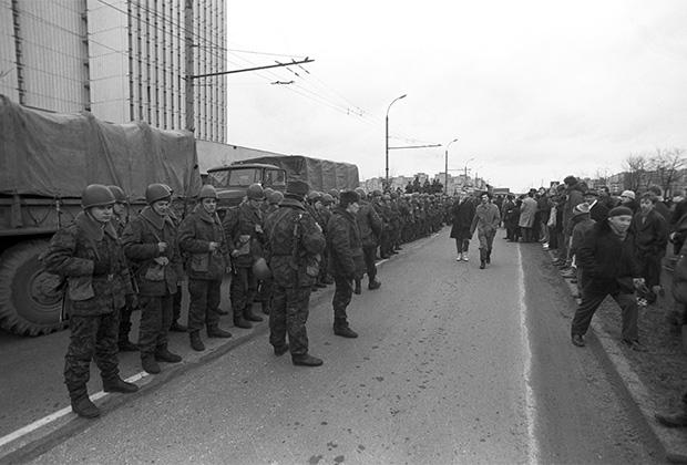 Десантники на улицах литовской столицы