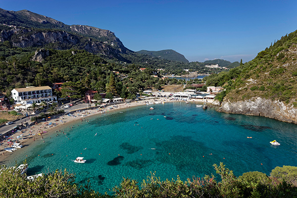 Agios Spyridon Bay, with a sandy beach, Paleokastrista, island Corfu, Ionian Islands, Greece, Europe Photographer: © Norbert Probst