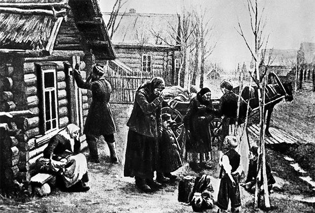 Крестьяне отправляются из деревни на заработки в город, 1901 год