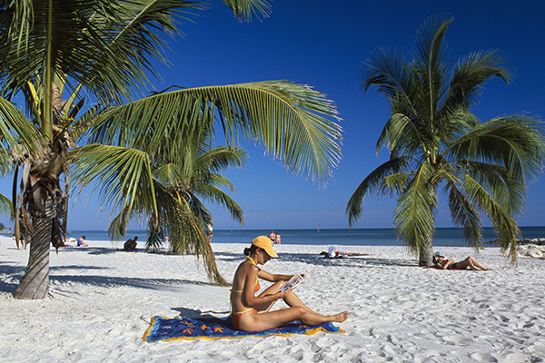 Woman reading, sandy beach, palm trees, Smathers Beach, Key West, The Keys, Florida, USA
