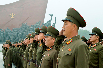 North Korean soldiers salute at Mansudae hill in Pyongyang, North Korea, in this photo taken by Kyodo, September 9, 2017 on the 69th founding anniversary of the country. Mandatory credit Kyodo/v