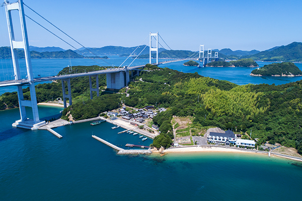 Umashima and Kurushima Bridges in Seto Inland Sea, Japan