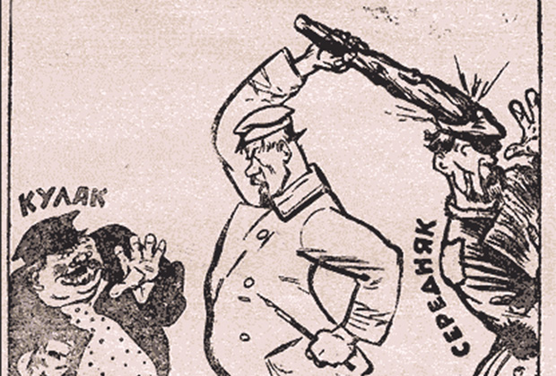«В экстазе раскулачивания», карикатура газеты «Приокский рабочий» от 11 апреля 1930 года