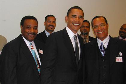 Опубликовано тайное фото Обамы с лидером радикальных черных мусульман