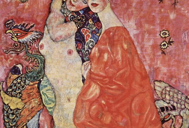 «Подруги» — весьма обтекаемое название для картины, изображающей, как считается, лесбийские отношения двух девушек. Несмотря на однополость их любви, фигуры противопоставлены: одна обнажена, другая одета и с покрытой головой. Картина была уничтожена во время пожара в 1945 году.