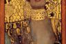 «Юдифь I» (полотно под вторым номером было создано в том же 1901 году) — еще одно изображение Адели Блох-Бауэр. Климт исследует разрушительную и опасную силу женской сексуальности, перекладывая библейскую историю молодой вдовы, которая, чтобы спасти свой народ, соблазнила вражеского полководца и отрубила ему голову.