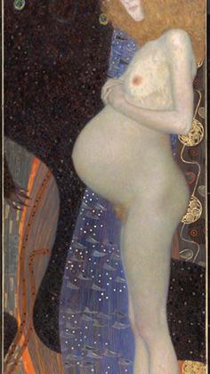 Про свою модель Герму Климт говорил, что «ее зад намного прекрасней и интеллигентней, чем лица многих других». Картина, написанная во время беременности Гермы, шесть лет хранилась в частной коллекции за створками — как большинство других работ художника, «Надежду» посчитали пошлой и непристойной.