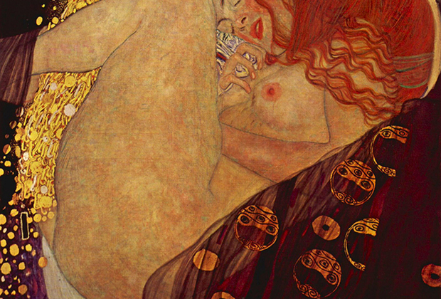 Климт знаком зрителю, прежде всего, картинами своего «Золотого периода»: позолота, использованная в работах, — наиболее узнаваемый элемент его творчества. В «Данае» позолоченным стал, естественно, тот самый золотой дождь, который, согласно мифу, оплодотворил героиню.