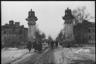 Освобожденная от немцев Гатчина. Гатчинские ворота и проспект 25 октября. Ленинградский фронт, 1943 год.