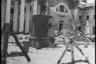 В освобожденном Пушкине. У разрушенного фашистами Александровского дворца немцы устроили кладбище для своих солдат и офицеров. Ленинградский фронт, 1943 год.