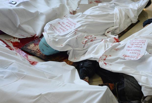 Тела убитых на Майдане в холле гостиницы «Украина»