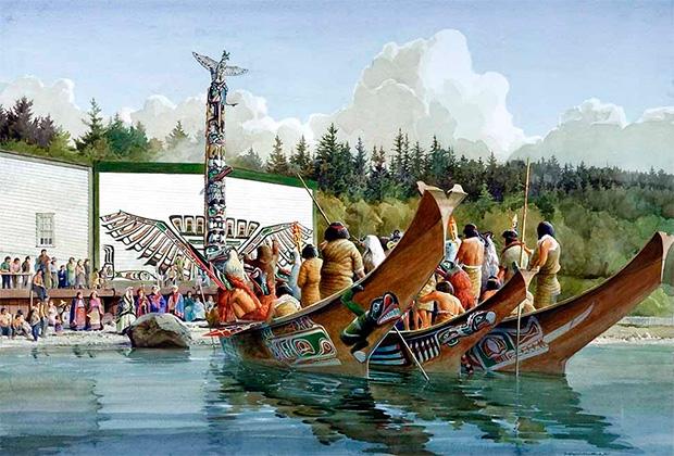 Церемония потлача (обмена дарами) у индейцев Северной Америки