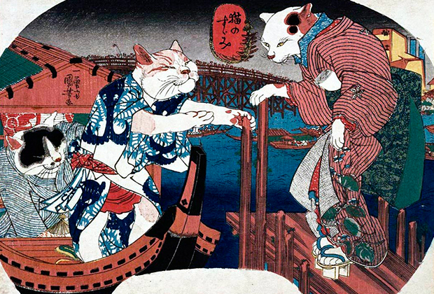 Гравюра с бакэнэко — котами-оборотнями