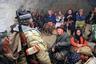 Жители армянского села Хзадберд прячутся в подвале разрушенной церкви во время обстрела с территории Азербайджана.