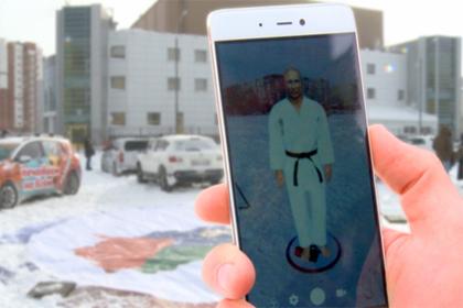12-метровый Президент: около центра «Тюмень-дзюдо» возникла голограмма Владимира Путина