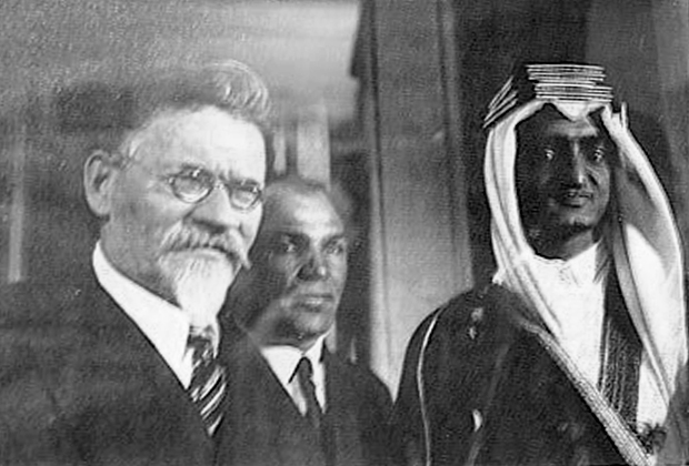 Михаил Калинин, Карим Хакимов и принц Фейсал, Москва, 1932 год