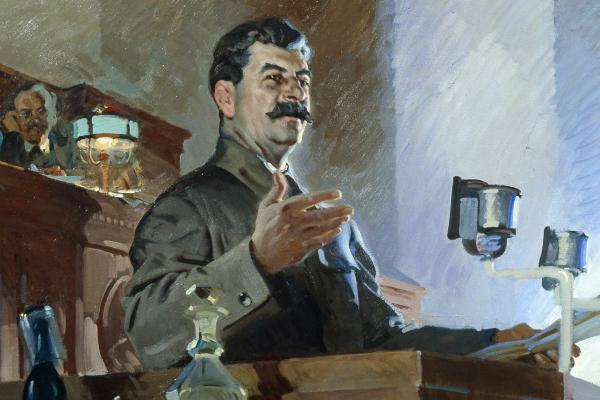 Картина Василия Сварога «Доклад И.В.Сталина о принятии Конституции 1936 года», 1938 год