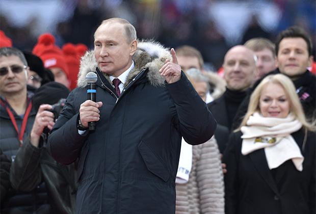 В митинге «За сильную Россию!» в поддержку кандидата в президенты Владимира Путина участвуют свыше 130 тысяч человек