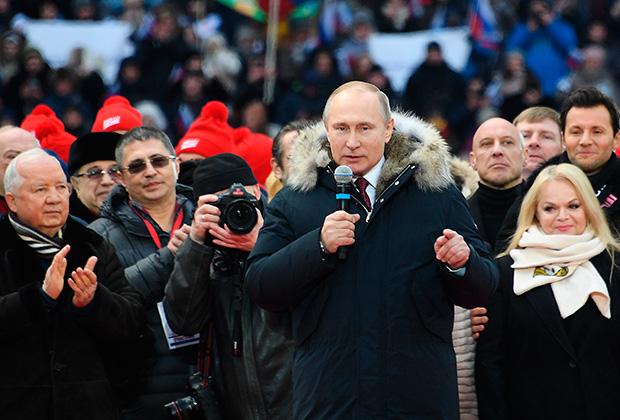 Митинг в поддержку Путина в «Лужниках» собрал 130 тысяч человек