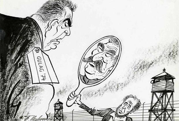 Леонид Брежнев и Александр Солженицын. Карикатура в западной прессе. 1974 год